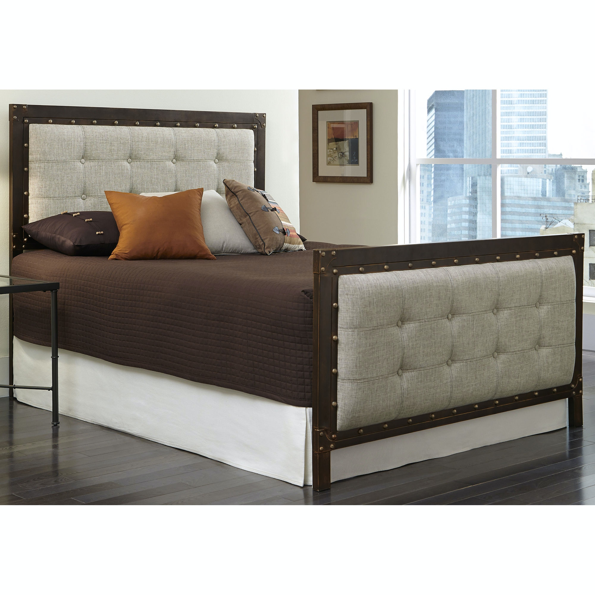 Fashion Bed Group Gotham Complete Bed With Dark Latte Upholstered Metal  Panels And Antique Industrial Studs