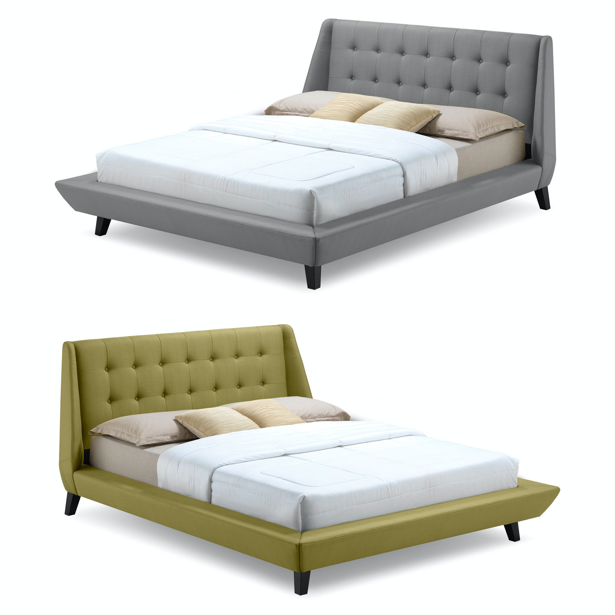 ... Fashion Bed Group Prelude Complete Platform Bed With Button Tuft  Headboard And Upholstered Exterior,