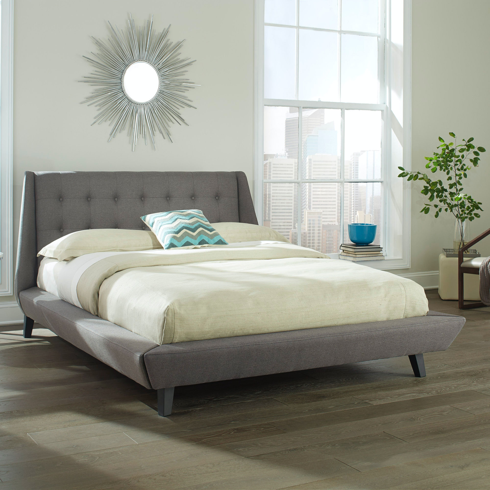 Fashion Bed Group Prelude Complete Platform Bed With Button Tuft Headboard  And Upholstered Exterior, ...