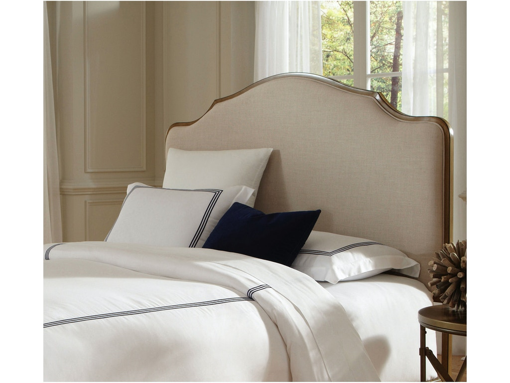 Fashion Bed Group Calvados Metal Headboard With Sand Colored Upholstery Natural Oak Finish Queen