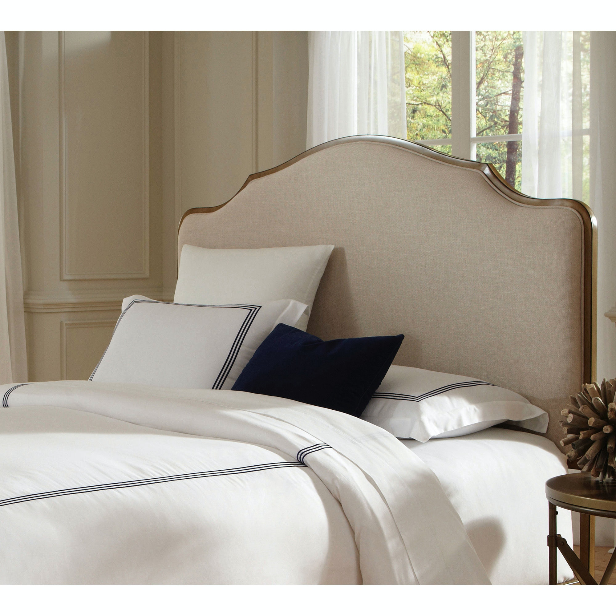 Fashion Bed Group Calvados Metal Headboard With Sand Colored Upholstery,  Natural Oak Finish, King