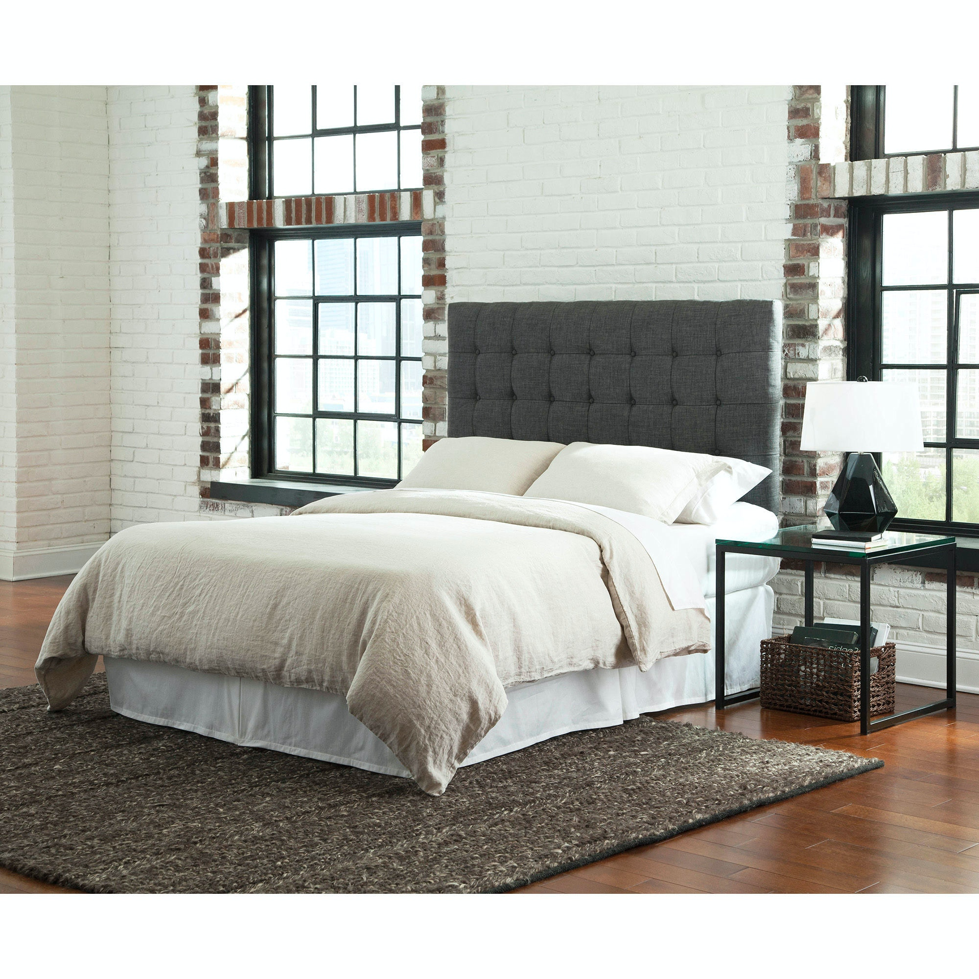 ... Fashion Bed Group Strasbourg Upholstered Adjustable Headboard Panel  With Solid Wood Frame And Button Tufted
