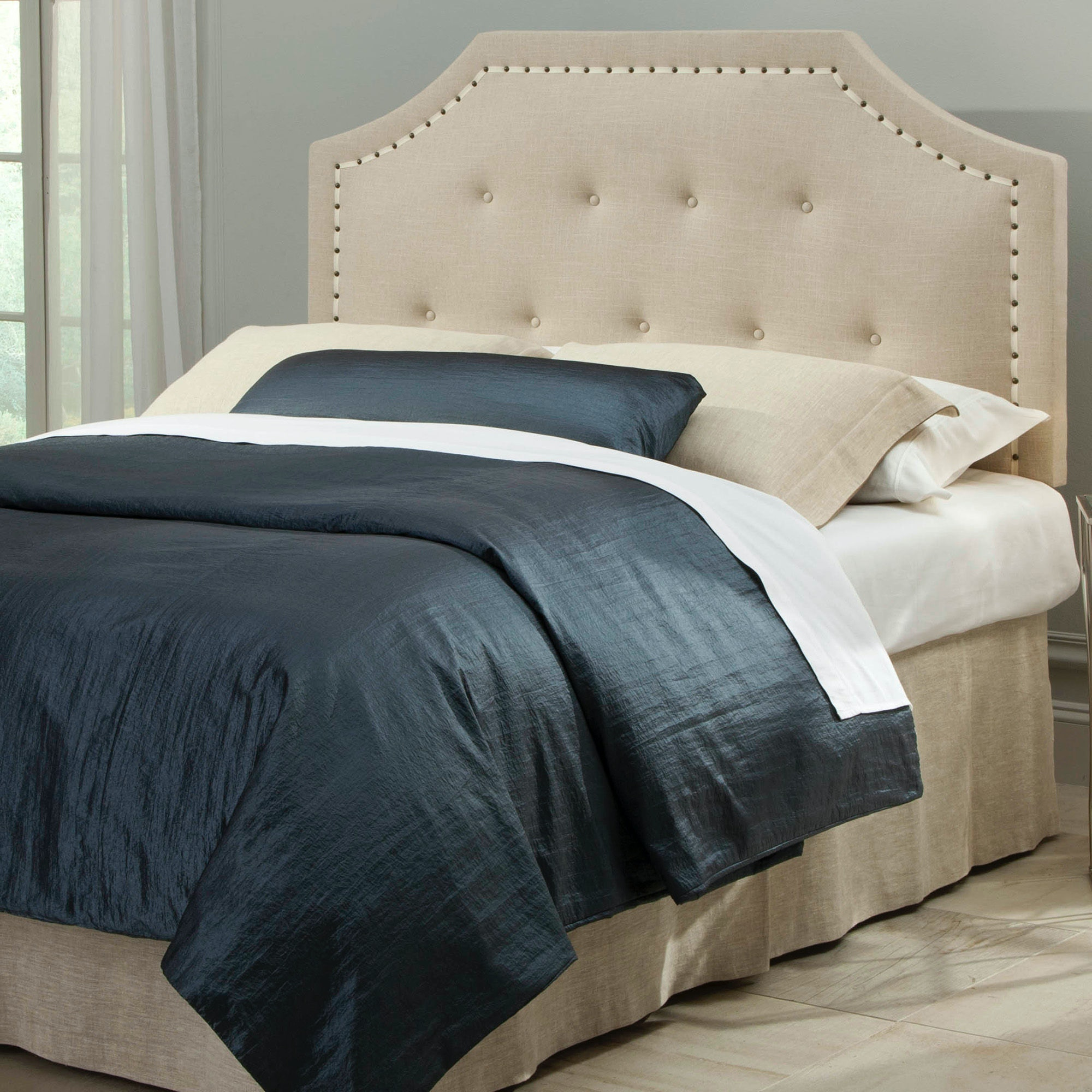 Fashion Bed Group Avignon Upholstered Adjustable Headboard With Button  Tufting And Contrast Tape Nail Head Trim ...