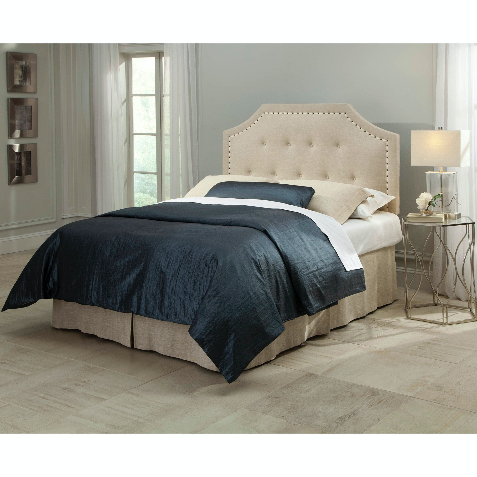 ... Fashion Bed Group Avignon Upholstered Adjustable Headboard With Button  Tufting And Contrast Tape Nail Head Trim