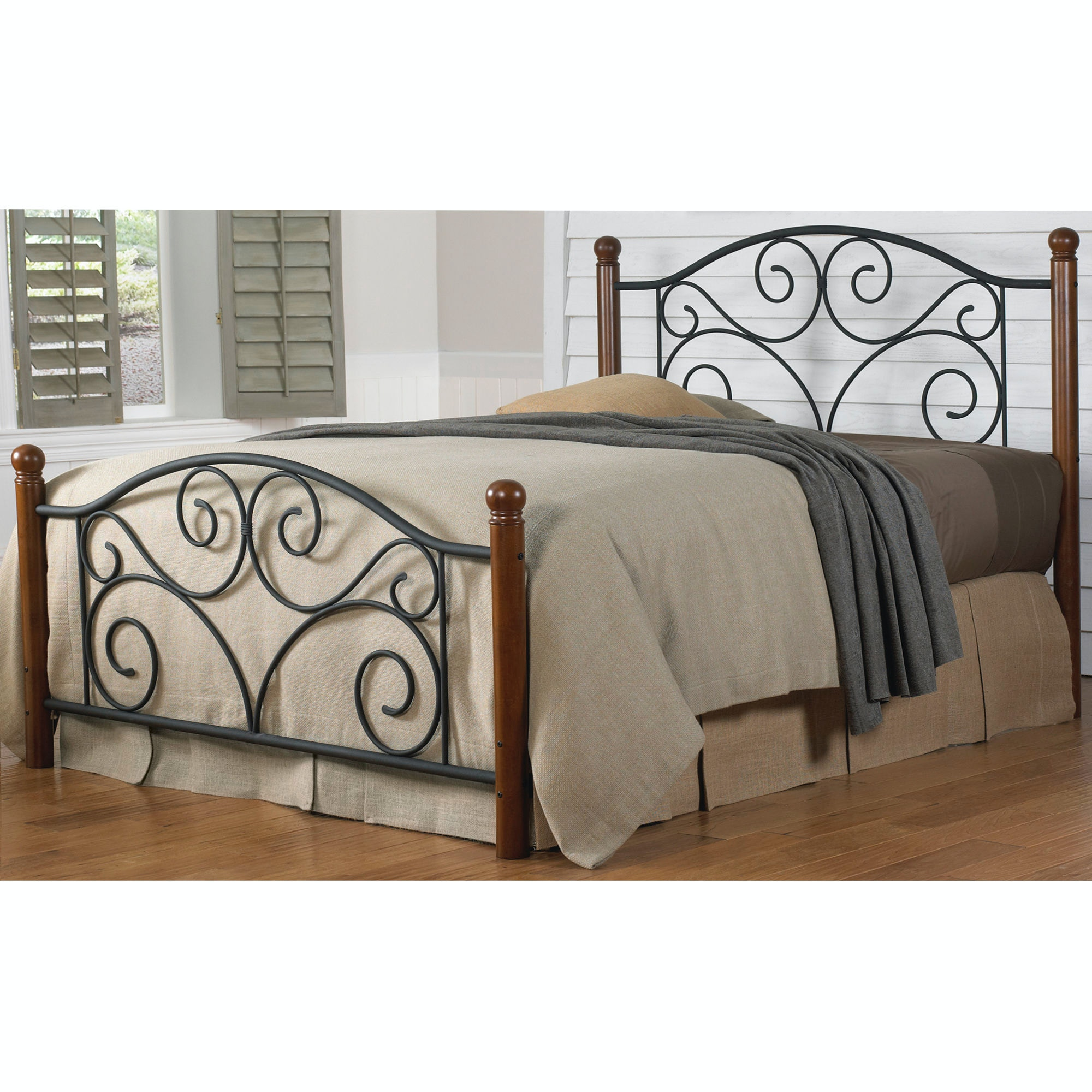 Fashion Bed Group Doral Complete Bed With Metal Duo Panels And Dark Walnut  Wood Posts, ...