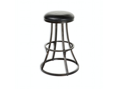 Fashion Bed Group Dover Metal Barstool with Black Upholstered Swivel-Seat and Blackened Bronze Frame Finish, 26-Inch C1M006