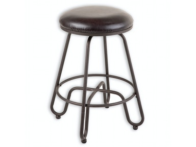 Fashion Bed Group Denver Metal Counter Stool with Backless Brown Upholstered Swivel-Seat and Umber Metal Frame Finish, 26-Inch C1M016
