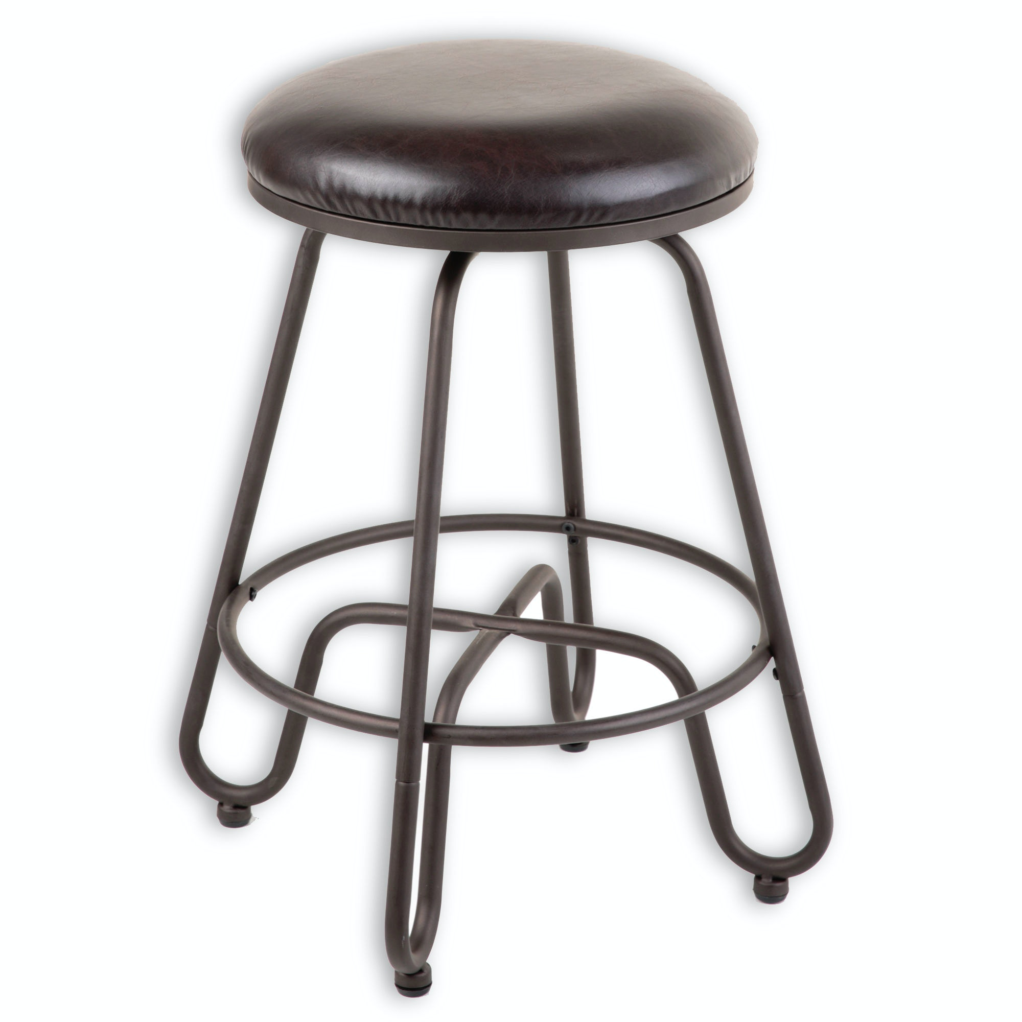 fashion bed group denver metal counter stool with backless brown upholstered swivelseat and umber - Metal Counter Stools