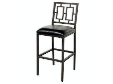 Fashion Bed Group Lansing Metal Barstool with Black Upholstered Seat and Coffee Frame Finish, 30-Inch C1M096