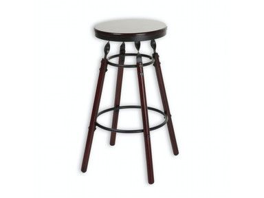 Fashion Bed Group Boston Wood Barstool with Dark Cherry Backless Seat and Charcoal Metal Finish, 26-Inch C1M136