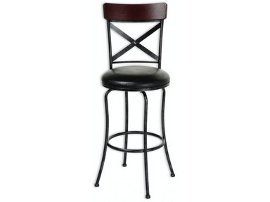 Fashion Bed Group Austin Metal Counter Stool with Black Upholstered Swivel-Seat and Black Fleck Frame Finish, 26-Inch C1X006