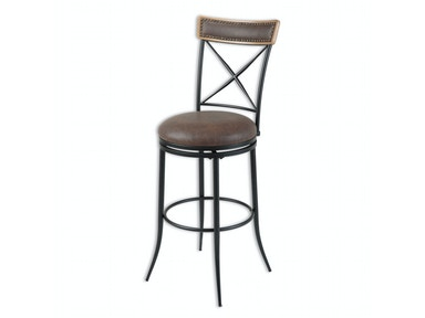 Fashion Bed Group Boise Metal Counter Stool with Black Upholstered Swivel-Seat and Charcoal Frame Finish, 26-Inch C1X026