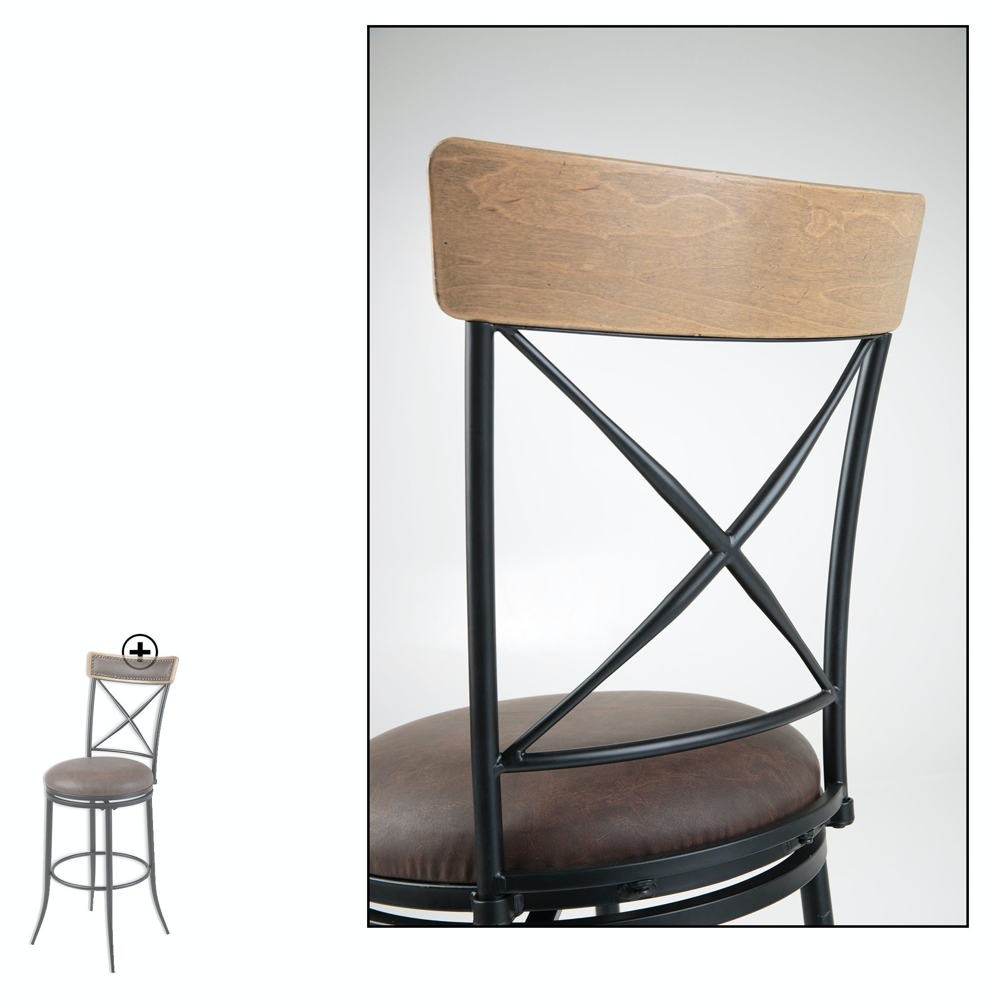 Fashion Bed Group Boise Metal Counter Stool with Black Upholstered Swivel Seat and Charcoal Frame