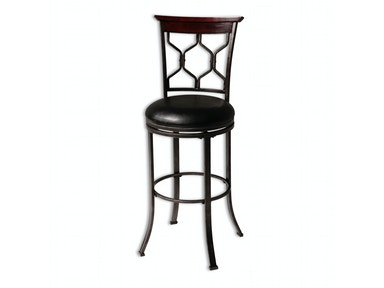 Fashion Bed Group Tallahassee Metal Counter Stool with Black Upholstered Swivel-Seat and Heritage Silver Frame Finish, 26-Inch C1X046