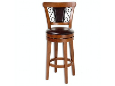 Fashion Bed Group Trenton Wood Counter Stool with Brown Upholstered Swivel-Seat and Nutmeg Frame Finish, 26-Inch C1X076