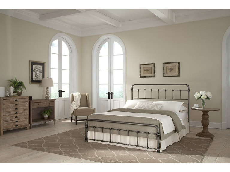 Fashion Bed Group Bedroom Fremont Metal Snap With Folding Frame Bedding Support System And Rounded Edge Panels Weathered Nickel Finish Queen B41185 At