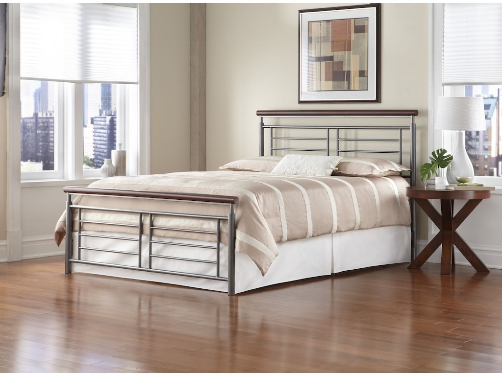 Fashion bed group bedroom fontane 5 0 headboard silver cherry metal b12975 at scholet furniture