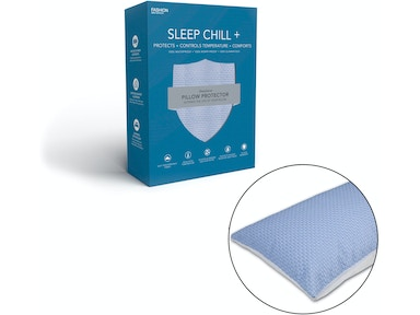 Fashion Bed Group Sleep Chill Crystal Gel Pillow Protector with Cooling Fibers and Blue 3-D Fabric, Standard/Queen QD0470
