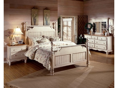Hillsdale Furniture Wilshire Bed - Queen, Rails, Nightstand, Dresser, and Mirror 1172570QS4