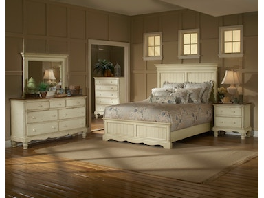 Hillsdale Furniture Wilshire Panel Bed - Queen, Rails, Nightstand, Dresser, Mirror, and Chest 1172573BQRSET5