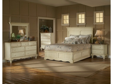 Hillsdale Furniture Wilshire Panel Storage Bed - King, Rails, Nightstand, Dresser, Mirror, and Chest 1172STGBKRSET5