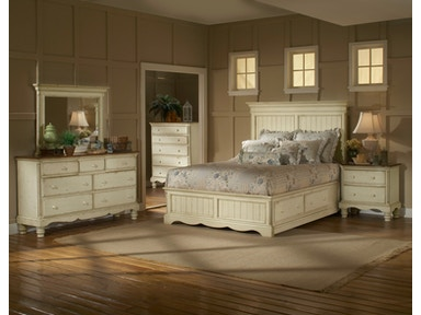 Hillsdale Furniture Wilshire Storage Panel Bed - Queen, Rails, Nightstand, Dresser, and Mirror 1172STGBQRSET4
