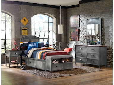 Hillsdale Furniture Urban Quarters Four (4) PC Panel Storage Bed Set with Footboard Bench - Twin 1265BTWSB4