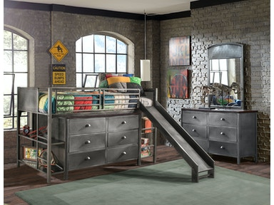 Hillsdale Furniture Urban Quarters Youth Junior Loft with Slide and Dresser 1265JLSD