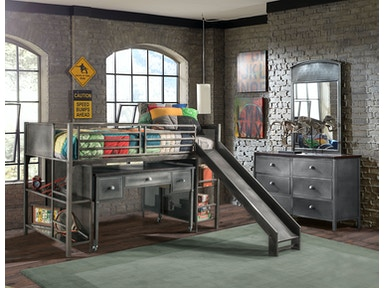 Hillsdale Furniture Urban Quarters Youth Junior Loft with Slide and Desk 1265JLSK