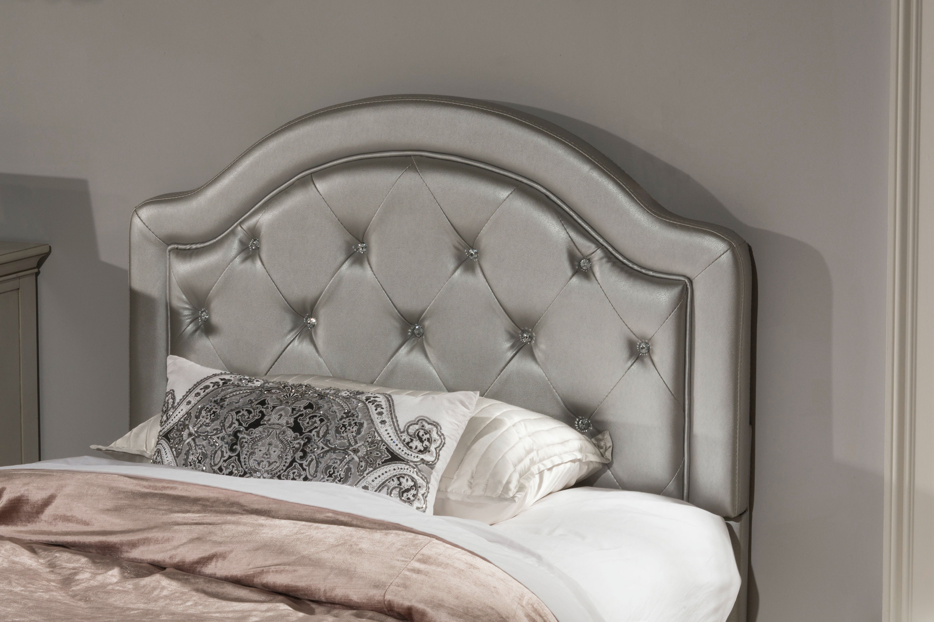 Hillsdale Furniture Youth Karley Headboard   Full   Silver Faux Leather  100947 102178 At Carol House Furniture