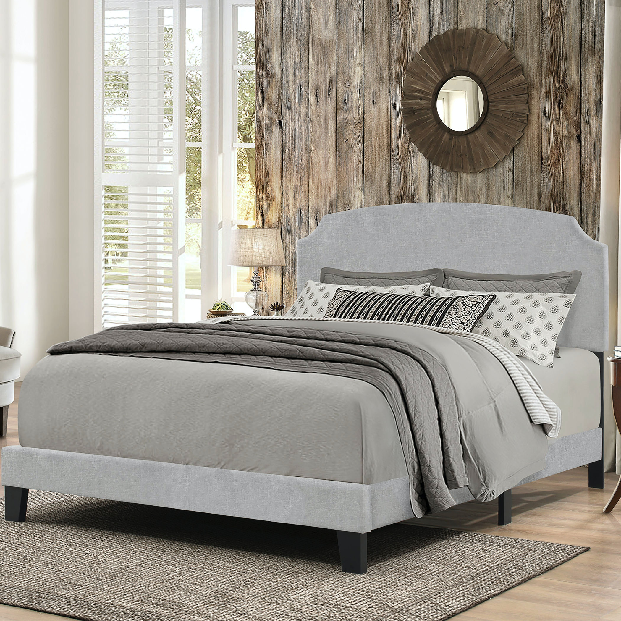 Hillsdale Furniture Bedroom Desi Bed In One   King   Glacier Gray Fabric