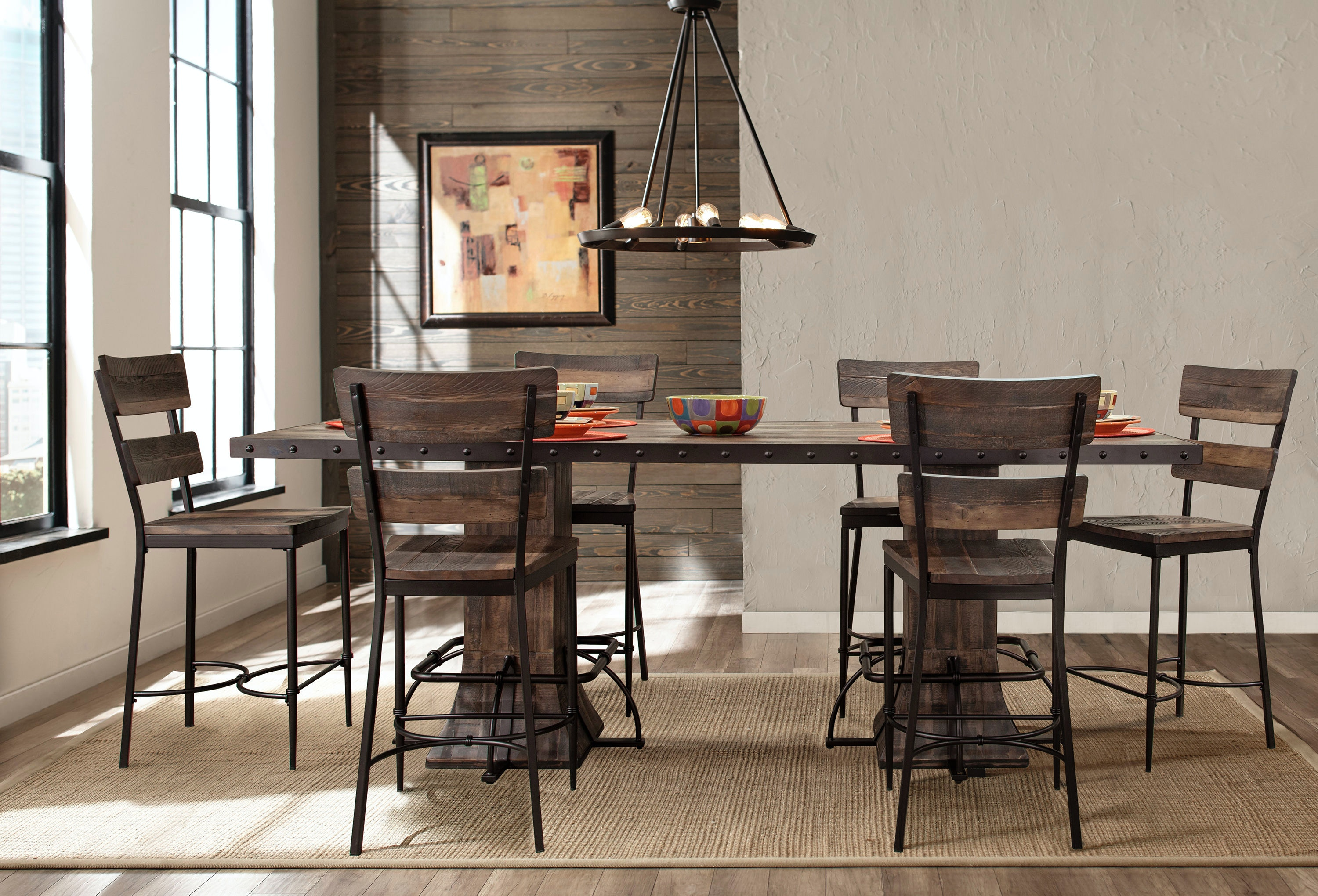 Jennings 7 Piece Rectangle Counter Height Dining Set With Non Swivel Counter  Stools