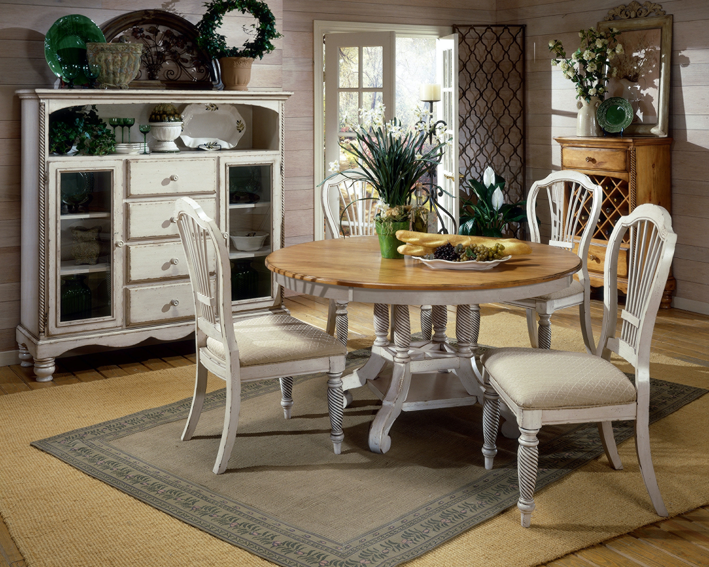 Hillsdale Furniture 7 Piece Round Dining Set With Side Chairs 4508DTBRNDC7