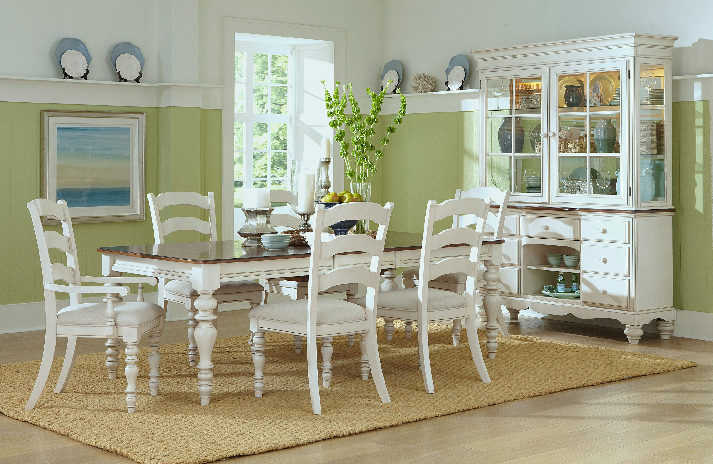 Hillsdale Furniture Pine Island 7 PC Dining Set   With Ladder Back Chairs  5265DTBRCL7