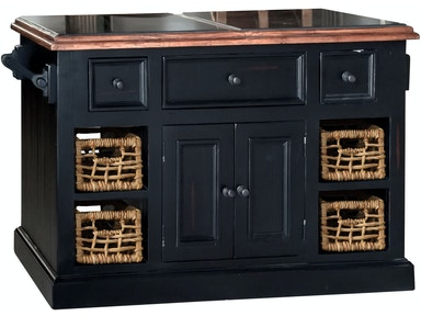 Hillsdale Furniture Tuscan Retreat ® Large Granite Top Kitchen Island with 2 (Two) Baskets - Black Finish 5267-1040W