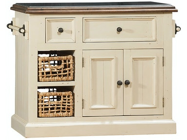 Hillsdale Furniture Tuscan Retreat ® Medium Granite Top Kitchen Island with 2 (Two) Baskets - Country White Finish 5465-1039W