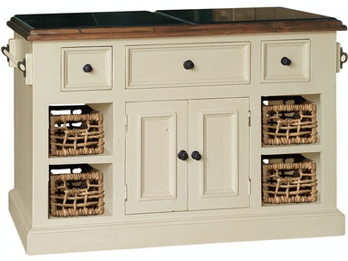 Hillsdale Furniture Tuscan Retreat ® Large Granite Top Kitchen Island with 2 (Two) Baskets - Country White Finish 5465-1040W