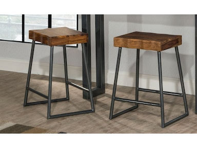 Hillsdale Furniture Emerson Manufactured Live Edge Square Non-Swivel Backless Counter Stool 5674-826