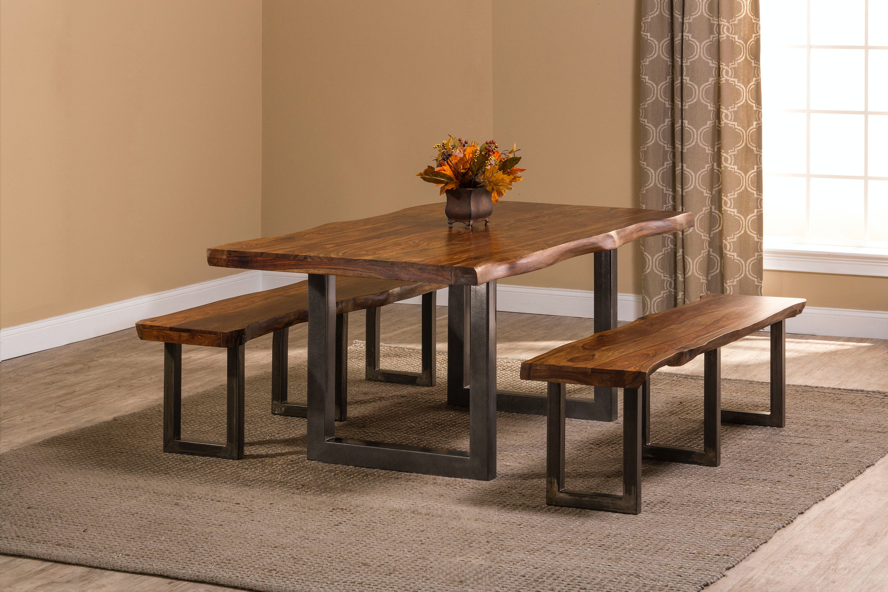 Hillsdale Furniture Emerson 3 Piece Rectangle Dining Set With Two (2)  Benches