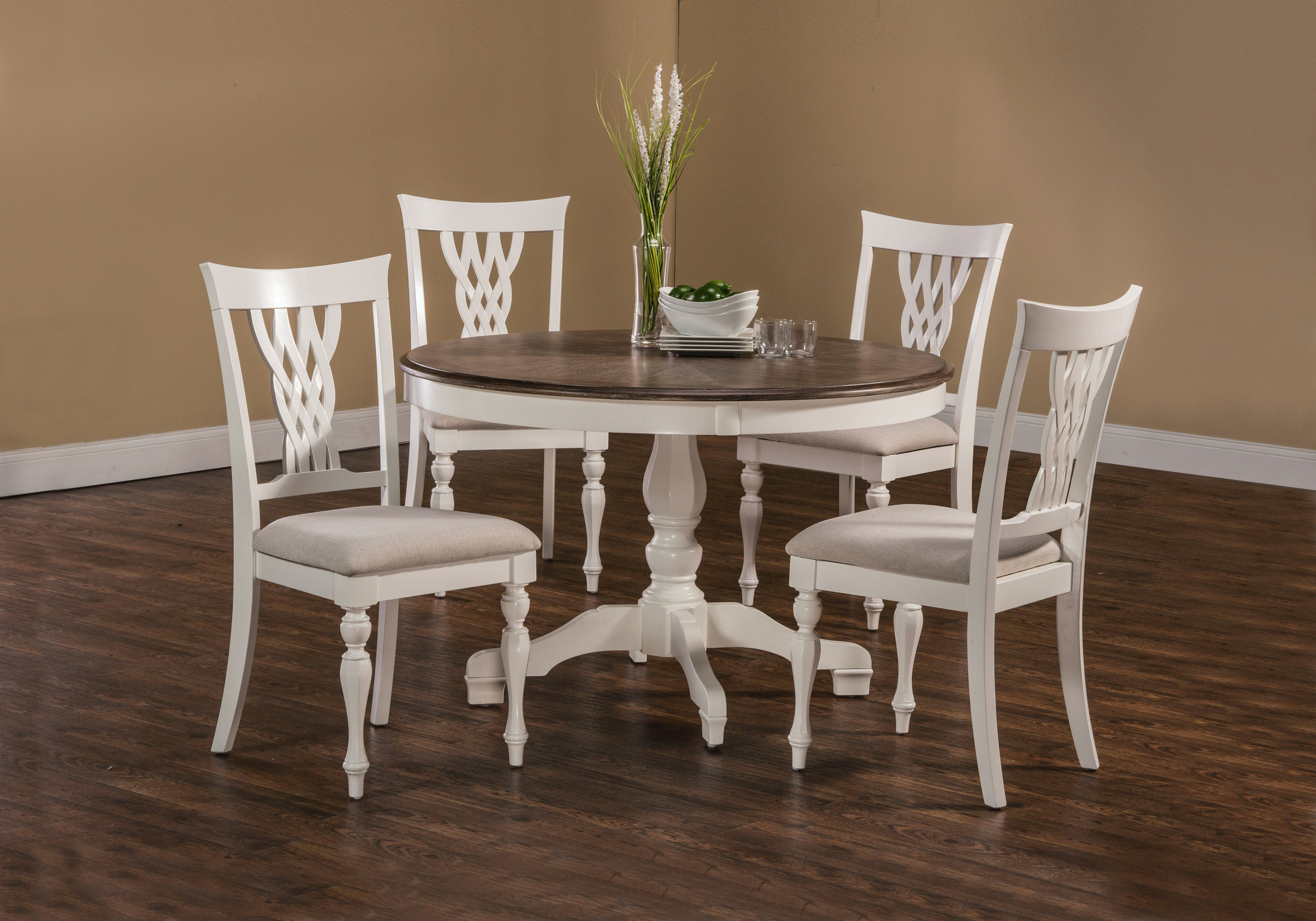 Hillsdale Furniture Dining Room Bayberry/Embassy 5 Piece Round Dining Set    White 5753DTBC   Carol House Furniture   Maryland Heights And Valley Park,  MO