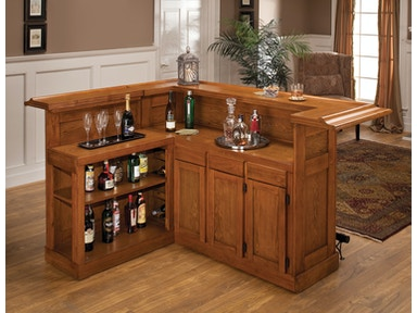 Hillsdale Furniture Classic Large Oak Bar with Side Bar 62576AXOAK