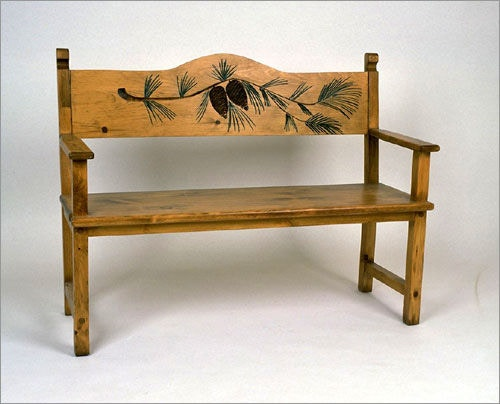 Southern Craftsmenu0027s Guild Pine Cone Bench 3504