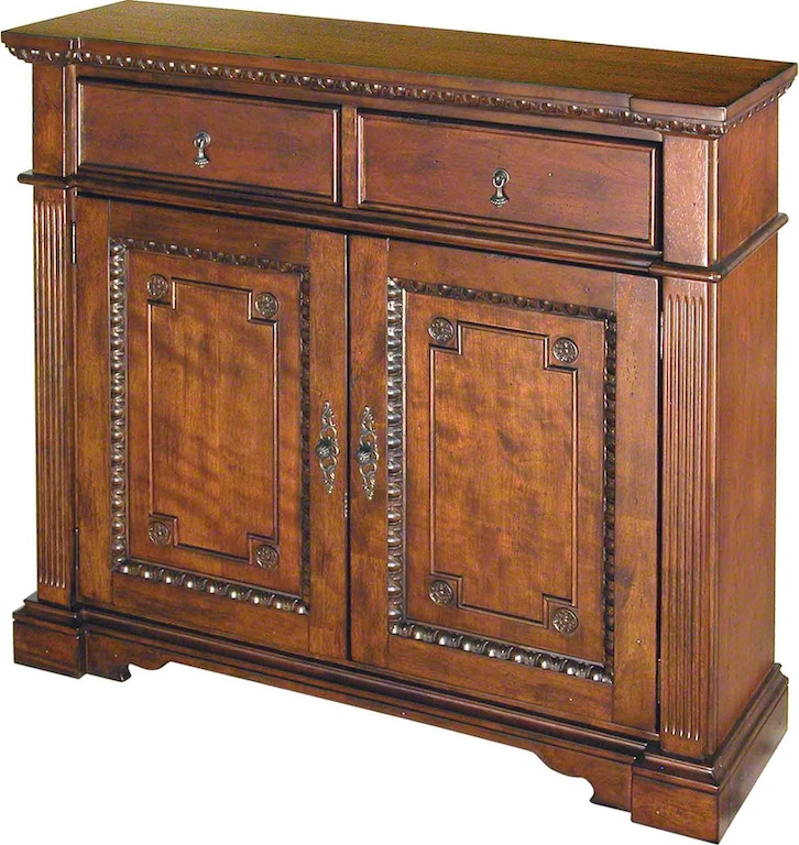 ... all around the door trim. The tabletop above the two drawers also  feature the dramatic carving. Offered in cherry with distressing, antique  black and ... - Accents Beyond Living Room Hall Chest 1213-C - Issis & Sons