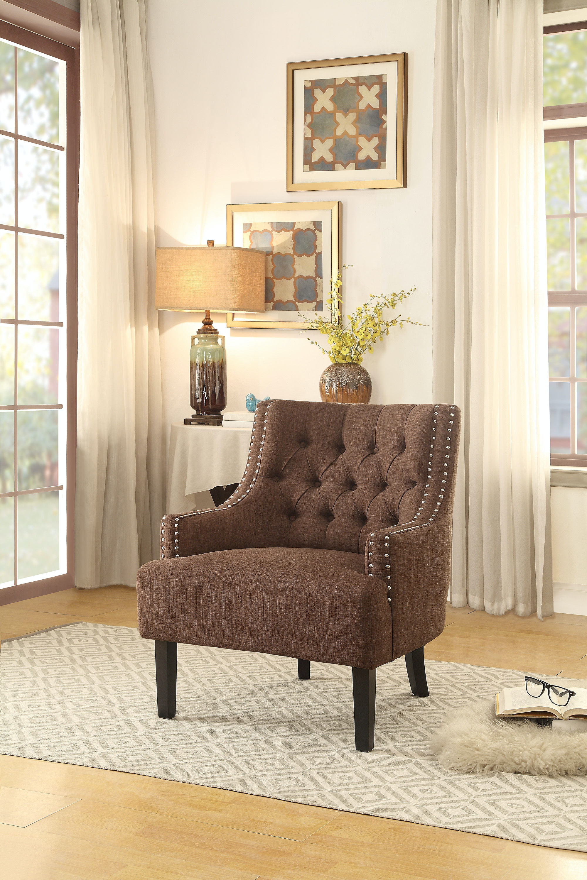 Homelegance Accent Chair, Chocolate 1194CH