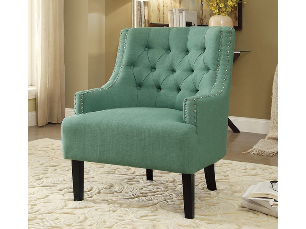 Homelegance living room accent chair teal 1194tl for Teal accent chairs in living room