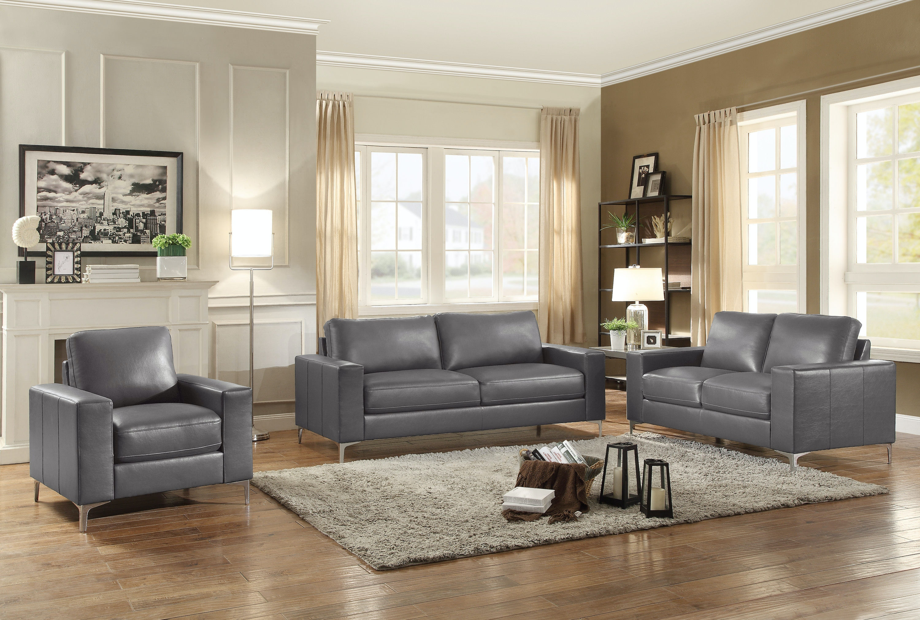 Living Room Sets Cleveland Ohio homelegance living room chair, grey leather gel match 8203gy-1