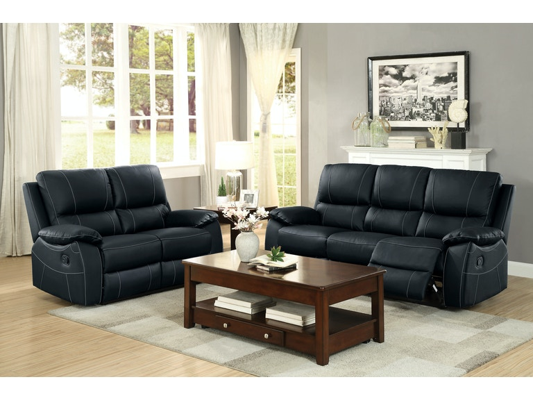 Homelegance Double Rclnr Sofa 8325BLK-3 - Homelegance Living Room Double Rclnr Sofa 8325BLK-3 - Kaplans