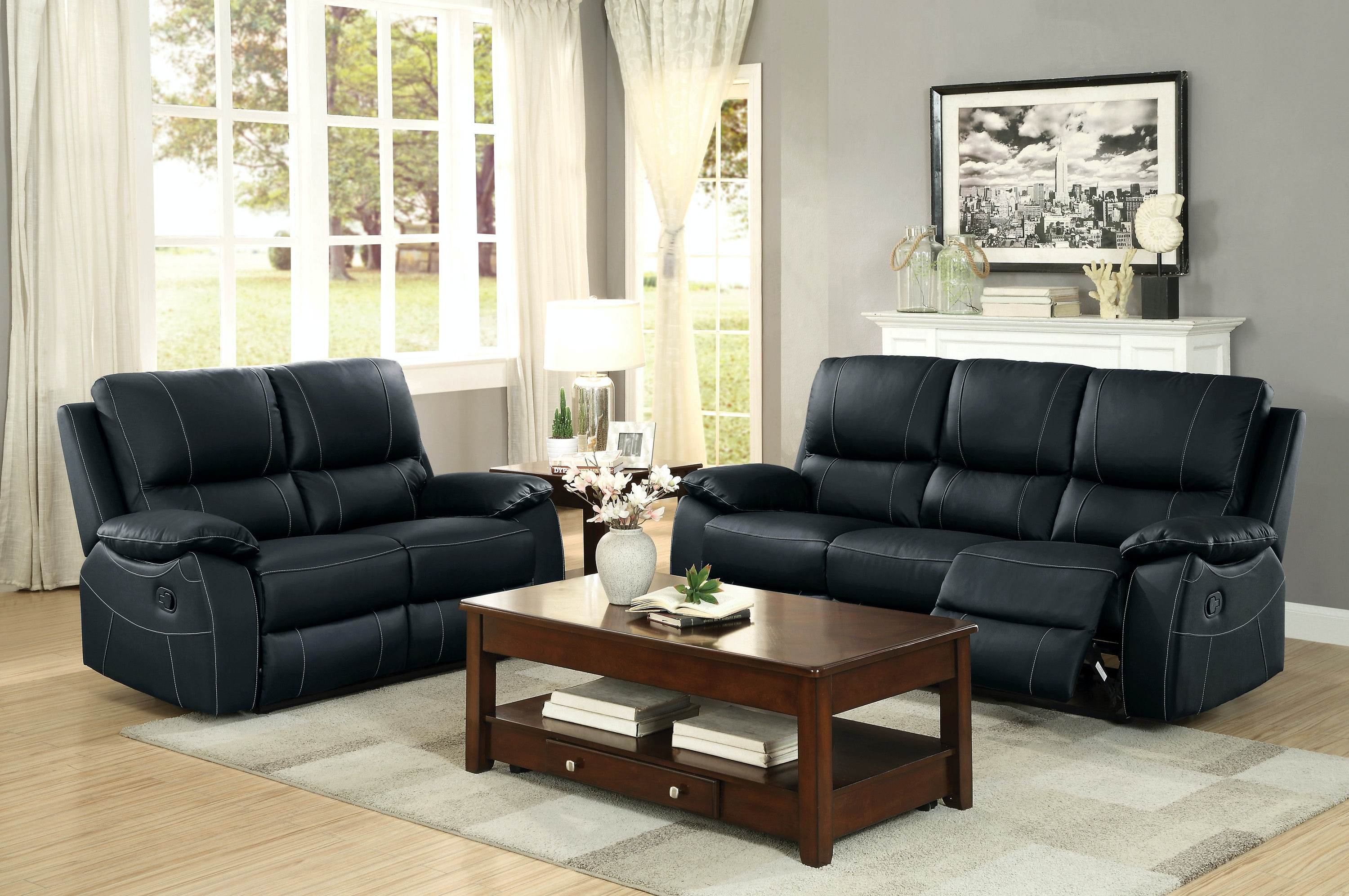 Living Room Sets Cleveland Ohio homelegance living room double rclnr sofa 8325blk-3 - kaplans