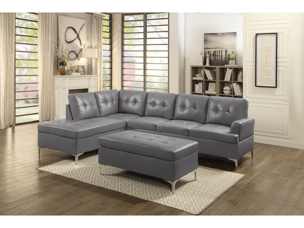 Homelegance living room 8378gry sectional simply for Bargain living room furniture