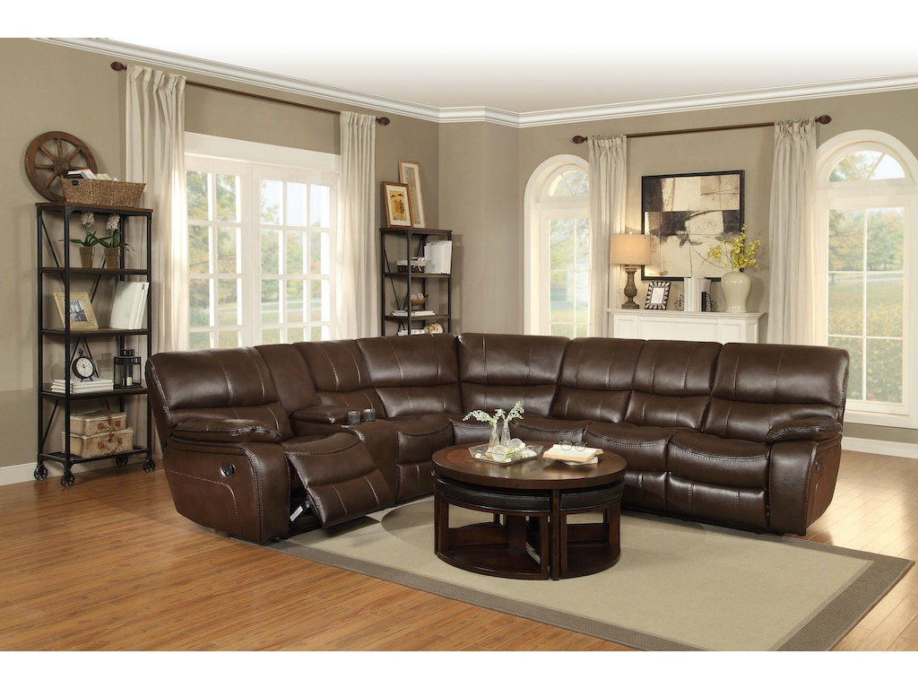 Homelegance Living Room 8480brw Sectional D Noblin Furniture Pearl And Jackson Ms